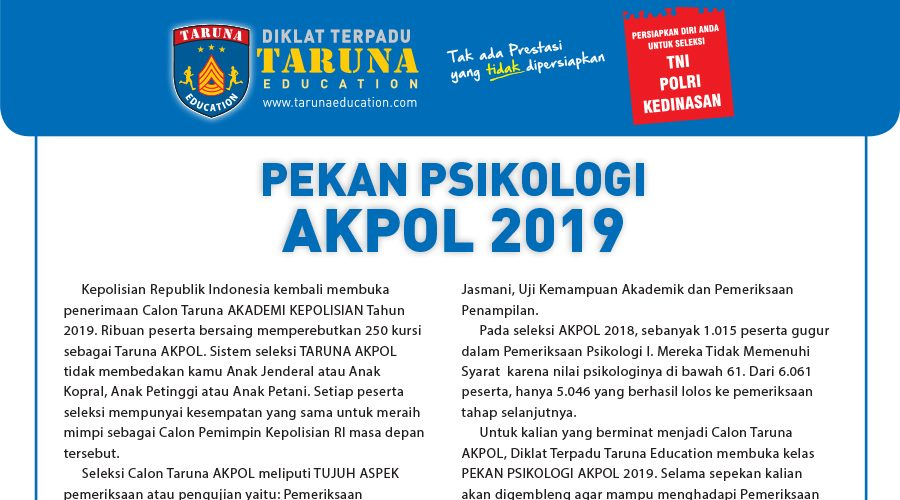 Program Taruna Education Pekan Pendalaman Psikotes Akpol 2019